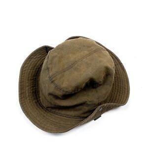 Men's Barbour Waxed Brown Safari Hat Size XL