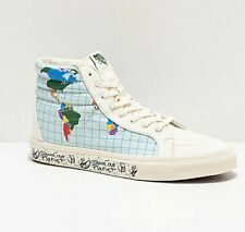 Womens Vans Sk8 Hi Reissue Save Our Planet Skate Shoes White Blue Green Red