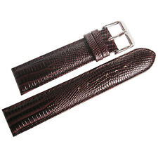 22mm deBeer Mens Brown Teju Lizard-Grain Leather Watch Band Strap