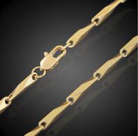 18k feine Goldkette Panzerkette vergoldet 60cm lang 3MM Damen Herren Halskette