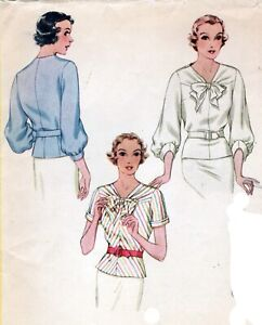 """1930's  Blouse With Bow - 32"""" - 38"""" Bust"""