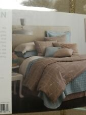 Dransfield Ross Upstairs Tan and Aqua Metropole Queen Duvet Cover Nip