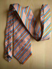 cravatta uomo ragazzo Trea righe sfumature arancione celeste seta papillon moda