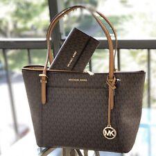 Michael Kors East West  MK Signature EW Top Zip Shoulder Tote Brown Bag + Wallet