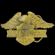 Harley Davidson Wings Bar Shield Biker Baron Brass 1983 Vintage Belt Buckle