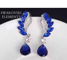 longues boucles d'oreilles ornées Swarovski® Elements luxe design vintage BLEUES