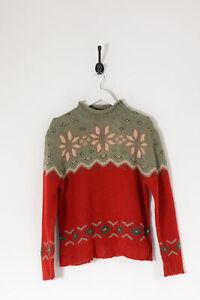 Vintage Women's EDDIE BAUER Patterned Wool Knit Jumper Red/Green (M)