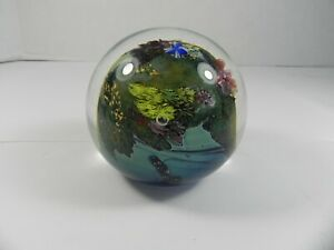Signed  Numbered Josh Simpson Art Glass Paperweight Inhabited Planet 1992