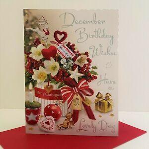 Jonny Javelin December Birthday Wishes Christmas Card Festive Flowers/XV106