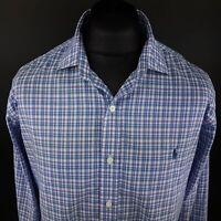 Polo Ralph Lauren Mens Non Iron Shirt 2XL Long Sleeve Blue Regular Fit Check