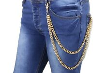 New Men Women Gold Wallet Chain Metal Punk KeyChain Biker Chunky Links 2 Strands