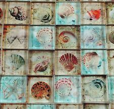 "Glass Mosaic Tiles - Blue Tan Beach Shells Seahorse Mixed Designs 1"" Squares"