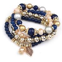 4pcs/set Multilayer Crystal Beads Leave Tassel Bracelets Women  Bangles Jewelry