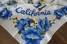 Vintage California Souvenir Scarf Blue Tropical Flowers Map State Yellow