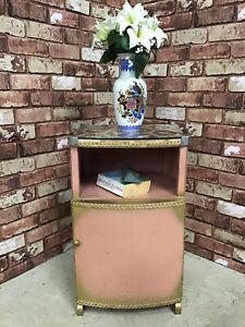 Vintage Lloyd Loom Style Retro Glass Top Bedside Cabinet / Plant Stand / Pot Cup