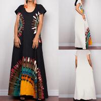 Women Summer Feather Print Dress Kaftan Oversize Shirt Dress Long Maxi Sundress