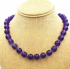 "Fashion Women's 10mm Natural Purple Jade Gemstone Round Beads Necklace 18"" AAA"