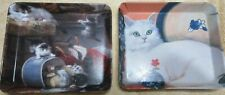 """New listing 2 Vintage Melamine Snack Trays Cat Kitten 5 x 5 11/16"""" Made in Italy"""