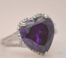 BEAUTIFUL LARGE AMETHYST HEART 14MM STONE RING Sterling Silver.925 Stamp Size 6