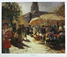 Max Friedrich rabes allemand marché aux fleurs impressionniste taille:40 cm x 50cm RARE