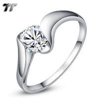 RW43 TT 9K Rose Gold GP RHODIUM 925 Sterling Silver Engagement Wedding Ring