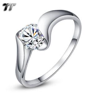 TT RHODIUM 925 Sterling Silver 1 Carat Engagement Wedding Ring (RW21)