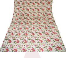 Kantha Quilt Floral Paradise Indian Cotton Handmade Bedspread Twin Size Gudari