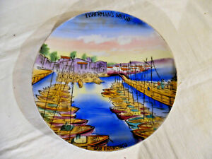 Old Plate Hand Painted Scene Fishermans Wharf San Francisco