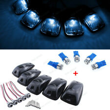 5Pcs Smoke Roof Cab Marker Lights w/5050 Ice Blue T10 194 LEDs For Chevrolet GMC