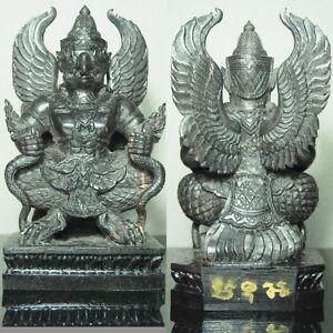 "Thai Amulet GARUDA Phaya Krut Statue Carving Wood MaiNgewDam 7"" Tall UNIQUE!!"