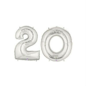 """Party Balloon Numbers """"20"""" Silver Betallic Megaloon 40"""" Mylar"""