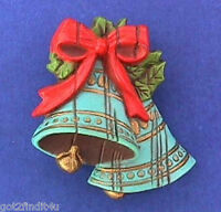 Hallmark PIN Christmas Vintage BLUE BELLS WOOD LOOK Holiday Brooch