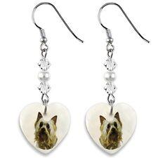 Australian Silky Terrier 925 Silver Heart Mother Of Pearl Dangle Earrings EP78