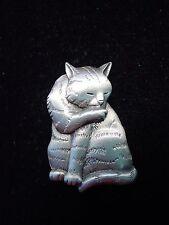 """""""JJ"""" Jonette Jewelry Silver Pewter 'CAT Grooming' Pin"""