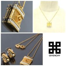 AUTH GIVENCHY GOLD TONE SILVER TONE CLIP ON EARRINGS RHINESTONE NECKLACE SET