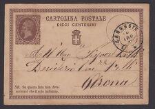 STORIA POSTALE REGNO 1877 Intero 10c da Canobbio ad Arona (NT3)