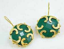 OttomanGems semi precious gemstone earrings gold ethnic Jade Turkish handmade