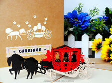 Vintage 3D Pop Up Hand Crafted Carriages Retrostyle Horse & Cart Greeting Card