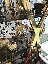 EX Display Shop Floor Model Gold Metal and Black Glass 5 Shelf Display Cabinet