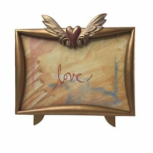 CHARPENTE Cast Aluminum Gold Toned Photo Frame Heart Surrounded by Wings VTG?