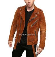 Men's Lambskin Suede Leather Jacket Biker Motorcycle Stylish Bomber Belted Tan