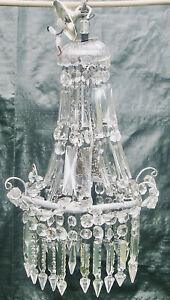 AN ANTIQUE FRENCH CRYSTAL CUT GLASS CHANDELIER