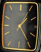 Men Watch Seiko Slim Date Black & Gold Tone Link Bracelet Quartz New Battery Run