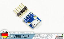 2 Stück Micro USB auf 2,54mm Breadboard-Adapter für Arduino Prototyping