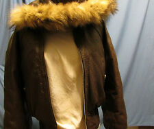 Rockwear Brown 100% Leather Hooded Ladies Jacket (Lined) Size Medium