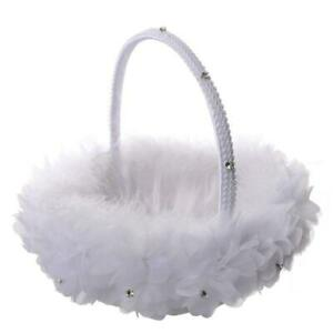 Flower Girl Baskets The Fabric Lace Decoration Cute Handle Flower Girl Basket