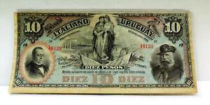 RARA BANCONOTA 10 PESOS BANCO ITALIANO URUGUAY 1887,COND. SPL ,ALTO VALORE