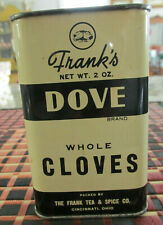 FRANK'S DOVE WHOLE CLOVES TIN VINTAGE BLACK & WHITE METAL CONTAINER 1/3 FULL