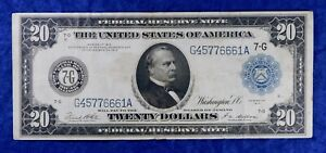 1914 $20 Large Size Federal Reserve Currency Banknote