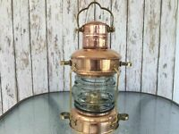 Nautical Brass & Copper Anchor Oil Lamp, Maritime Ship Hanging Lantern Best Gift